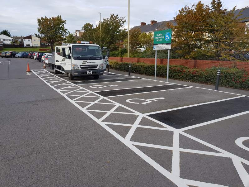 Morrisons, South Shields - disabled car parking bay markings