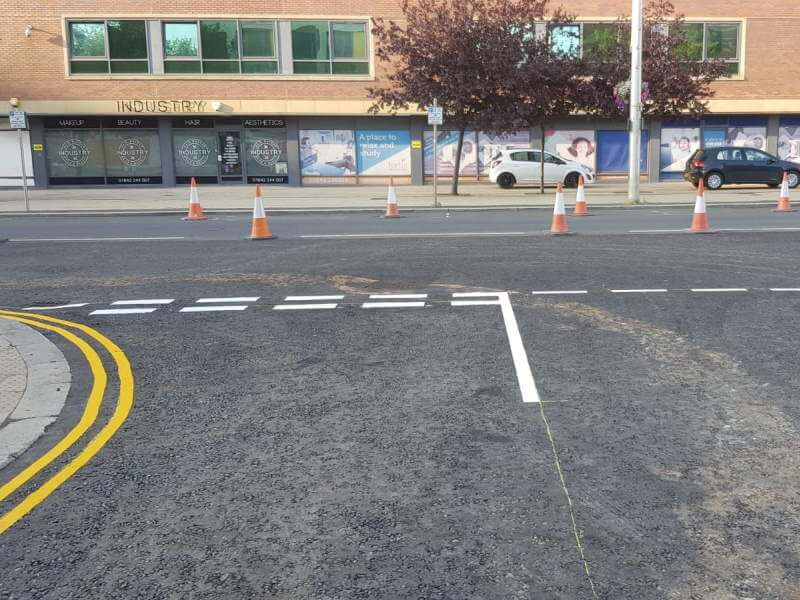 Elm Street, Middlesbrough - Road markings