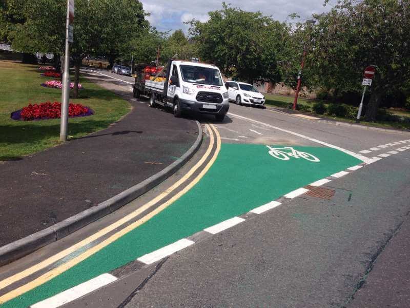 Cavell Gardens, Inverness - Green Coldgrip anti-skid surfacing to  cyclepath
