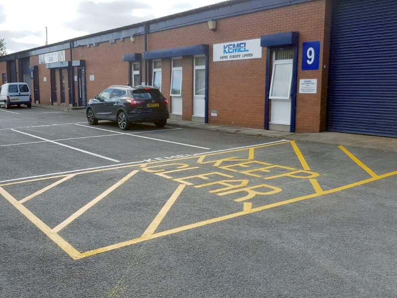Kemel Europe - car park markings & yellow hatched keep clear area